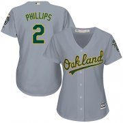 Wholesale Cheap Athletics #2 Tony Phillips Grey Road Women's Stitched MLB Jersey