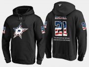 Wholesale Cheap Stars #21 Antoine Roussel NHL Banner Wave Usa Flag Black Hoodie