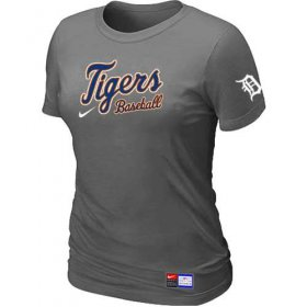 Wholesale Cheap Women\'s Detroit Tigers Nike Short Sleeve Practice MLB T-Shirt Crow Grey