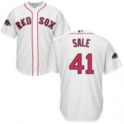 Wholesale Cheap Red Sox #41 Chris Sale White New Cool Base 2018 World Series Stitched MLB Jersey