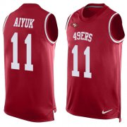 Wholesale Cheap Nike 49ers #11 Brandon Aiyuk Red Team Color Men's Stitched NFL Limited Tank Top Jersey