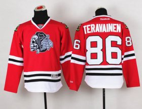 Wholesale Cheap Blackhawks #86 Teuvo Teravainen Red(White Skull) Stitched Youth NHL Jersey