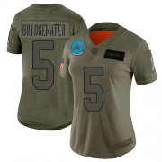 Wholesale Cheap Nike Panthers #5 Teddy Bridgewater Camo Women's Stitched NFL Limited 2019 Salute to Service Jersey