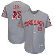 Wholesale Cheap Men's Reds #27 Matt Kemp Majestic Gray 150th Anniversary Road Authentic Collection Flex Base Player Jersey