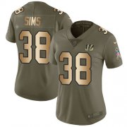 Wholesale Cheap Nike Bengals #38 LeShaun Sims Olive/Gold Women's Stitched NFL Limited 2017 Salute To Service Jersey