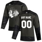 Wholesale Cheap Chicago Blackhawks Adidas 2019 Veterans Day Authentic Custom Practice NHL Jersey Camo