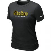 Wholesale Cheap Women's Nike Pittsburgh Steelers Sideline Legend Authentic Font T-Shirt Black