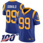 Wholesale Cheap Nike Rams #99 Aaron Donald Royal Blue Alternate Men's Stitched NFL 100th Season Vapor Limited Jersey