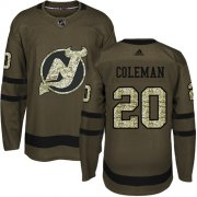 Wholesale Cheap Adidas Devils #20 Blake Coleman Green Salute to Service Stitched NHL Jersey