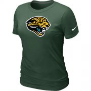Wholesale Cheap Women's Nike Jacksonville Jaguars Logo NFL T-Shirt Dark Green