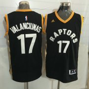 Wholesale Cheap Men's Toronto Raptors #17 Jonas Valanciunas Black With Gold New NBA Rev 30 Swingman Jersey