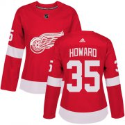 Wholesale Cheap Adidas Red Wings #35 Jimmy Howard Red Home Authentic Women's Stitched NHL Jersey