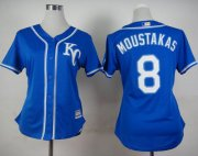 Wholesale Cheap Royals #8 Mike Moustakas Blue Alternate 2 Women's Stitched MLB Jersey