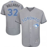 Wholesale Cheap Blue Jays #32 Roy Halladay Grey Flexbase Authentic Collection Father's Day Stitched MLB Jersey