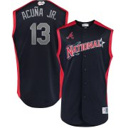 Wholesale Cheap National League #13 Ronald Acuna Jr. Majestic 2019 MLB All-Star Game Workout Player Jersey Navy