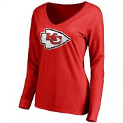 Wholesale Cheap Women's Kansas City Chiefs Pro Line Primary Team Logo Slim Fit Long Sleeve T-Shirt Red
