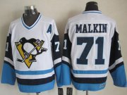 Wholesale Cheap Penguins #71 Evgeni Malkin White/Blue CCM Throwback Stitched NHL Jersey