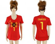 Wholesale Cheap Women's Belgium #1 Courtois Red Home Soccer Country Jersey