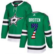 Wholesale Cheap Adidas Stars #7 Neal Broten Green Home Authentic USA Flag Stitched NHL Jersey