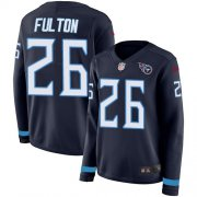 Wholesale Cheap Nike Titans #26 Kristian Fulton Navy Blue Team Color Women's Stitched NFL Limited Therma Long Sleeve Jersey