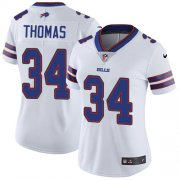 Wholesale Cheap Nike Bills #34 Thurman Thomas White Women's Stitched NFL Vapor Untouchable Limited Jersey
