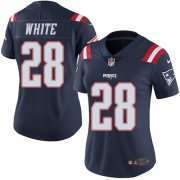 Wholesale Cheap Nike Patriots #28 James White Navy Blue Women's Stitched NFL Limited Rush Jersey