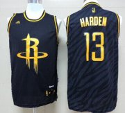 Wholesale Cheap Houston Rockets #13 James Harden Revolution 30 Swingman 2014 Black With Gold Jersey