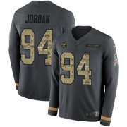 Wholesale Cheap Nike Saints #94 Cameron Jordan Anthracite Salute to Service Men's Stitched NFL Limited Therma Long Sleeve Jersey