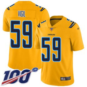 Wholesale Cheap Nike Chargers #59 Nick Vigil Gold Men\'s Stitched NFL Limited Inverted Legend 100th Season Jersey