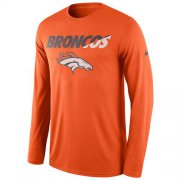 Wholesale Cheap Men's Denver Broncos Nike Orange Legend Staff Practice Long Sleeves Performance T-Shirt