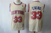 Wholesale Cheap New York Knicks #33 Patrick Ewing Cream Throwback Jersey