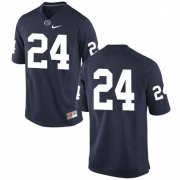 Wholesale Cheap Men's Penn State Nittany Lions #24 Miles Sanders No Name Navy Blue College Football Stitched Nike NCAA Jersey