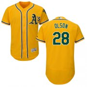 Wholesale Cheap Athletics #28 Matt Olson Gold Flexbase Authentic Collection Stitched MLB Jersey