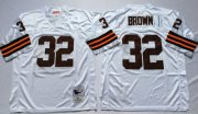 Wholesale Cheap Mitchell And Ness 1963 Browns #32 Jim Brown White Throwback Stitched NFL Jersey