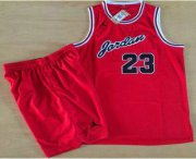 Wholesale Cheap Chicago Bulls #23 Michael Jordan Red Commemorative Swingman Jersey With Shorts
