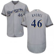 Wholesale Cheap Brewers #46 Corey Knebel Grey Flexbase Authentic Collection Stitched MLB Jersey