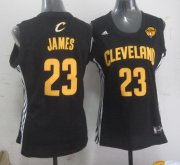 Wholesale Cheap Women's Cleveland Cavaliers #23 LeBron James Black Fashion 2016 The NBA Finals Patch Jersey
