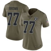 Wholesale Cheap Nike Raiders #77 Trent Brown Olive Women's Stitched NFL Limited 2017 Salute To Service Jersey