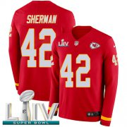 Wholesale Cheap Nike Chiefs #42 Anthony Sherman Red Super Bowl LIV 2020 Team Color Men's Stitched NFL Limited Therma Long Sleeve Jersey