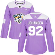 Wholesale Cheap Adidas Predators #92 Ryan Johansen Purple Authentic Fights Cancer Women's Stitched NHL Jersey