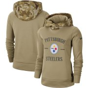 Wholesale Cheap Women's Pittsburgh Steelers Nike Khaki 2019 Salute to Service Therma Pullover Hoodie