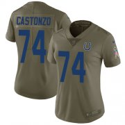 Wholesale Cheap Nike Colts #74 Anthony Castonzo Olive Women's Stitched NFL Limited 2017 Salute To Service Jersey