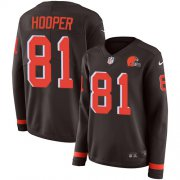 Wholesale Cheap Nike Browns #81 Austin Hooper Brown Team Color Women's Stitched NFL Limited Therma Long Sleeve Jersey