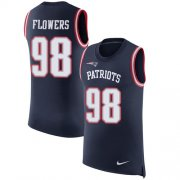 Wholesale Cheap Nike Patriots #98 Trey Flowers Navy Blue Team Color Men's Stitched NFL Limited Rush Tank Top Jersey