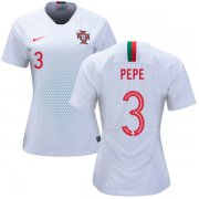 Wholesale Cheap Women's Portugal #3 Pepe Away Soccer Country Jersey