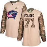 Wholesale Cheap Adidas Blue Jackets #71 Nick Foligno Camo Authentic 2017 Veterans Day Stitched Youth NHL Jersey