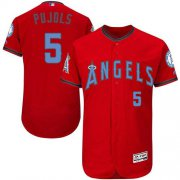 Wholesale Cheap Angels of Anaheim #5 Albert Pujols Red Flexbase Authentic Collection Father's Day Stitched MLB Jersey