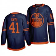Wholesale Cheap Edmonton Oilers #41 Mike Smith Blue 2019-20 Third Alternate Jersey