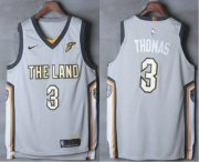 Wholesale Cheap Men's Cleveland Cavaliers #3 Isaiah Thomas Gray The Land 2017-2018 Nike Authentic Stitched NBA Jersey