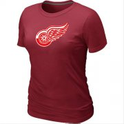 Wholesale Cheap Women's Detroit Red Wings Big & Tall Logo Red NHL T-Shirt